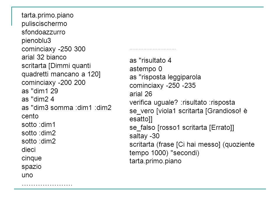 scritarta [Dimmi quanti quadretti mancano a 120] cominciaxy -200 200